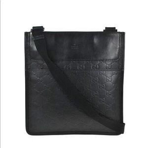 Authentic Gucci unisex black leather messenger bag